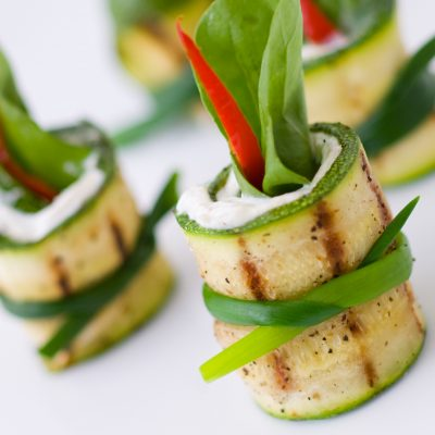 Gourmet and healthy fresh organic zucchini appetizer premier chef services